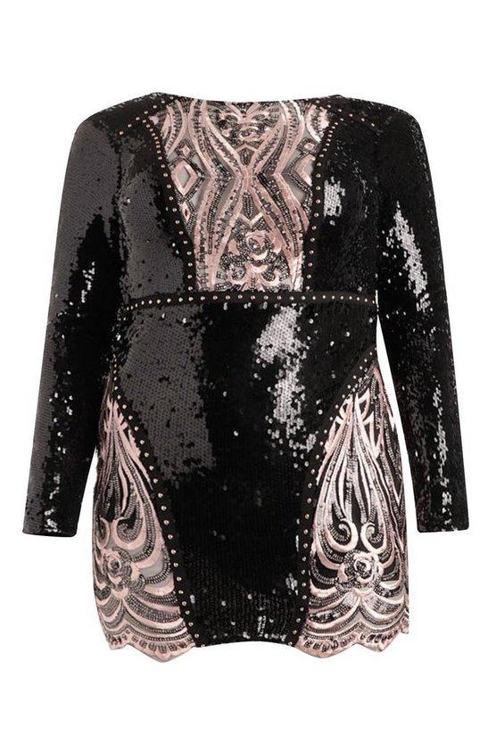 Premium Plus Lola Sequin Long Sleeve Dress