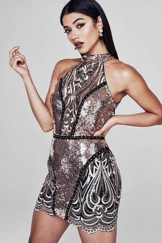 Preimum Lauren Halter Neck Sequin Mini Dress