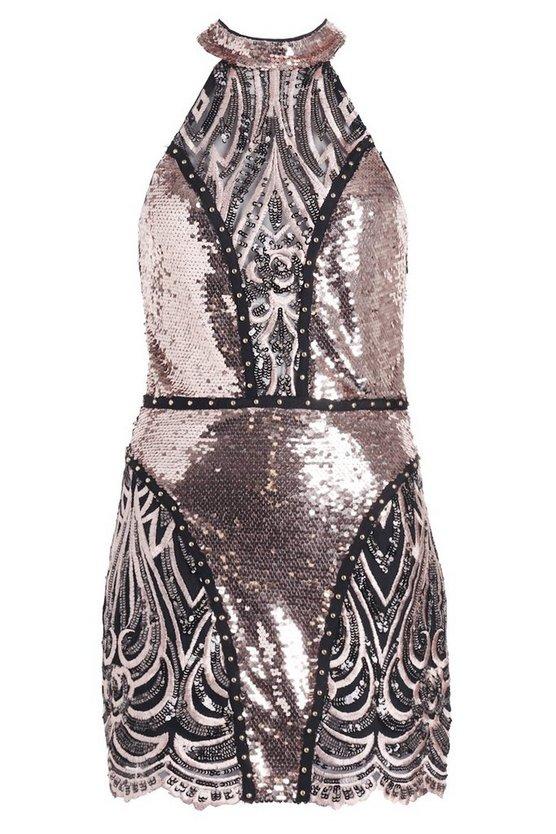Premium Lauren Halter Neck Sequin Mini Dress