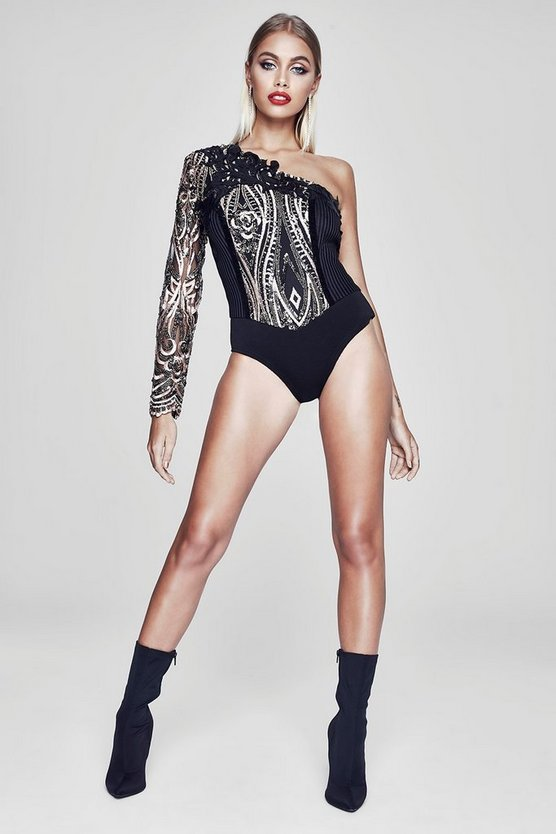 Premium Abbie One Shoulder Sequin Bodysuit