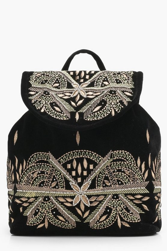 Holly Embroidered Velvet Rucksack