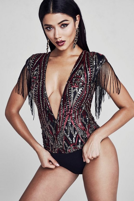 Premium Lauren Sequin And Buggle Bead Bodysuit
