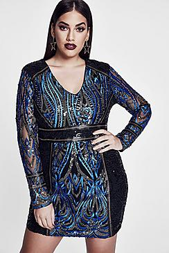 Premium Plus Eva Embroidered Sequin Plunge Dress