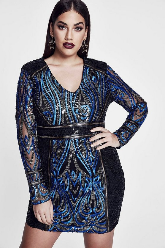 Premium Plus Eva Embroidered Sequin Plunge Dress