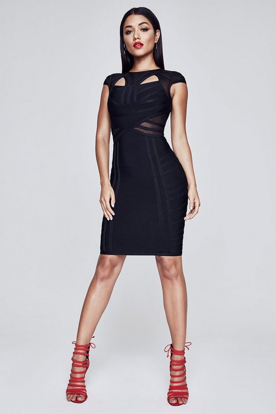 Premium Fliss Cap Sleeve Peek A Boo Bandage Dress
