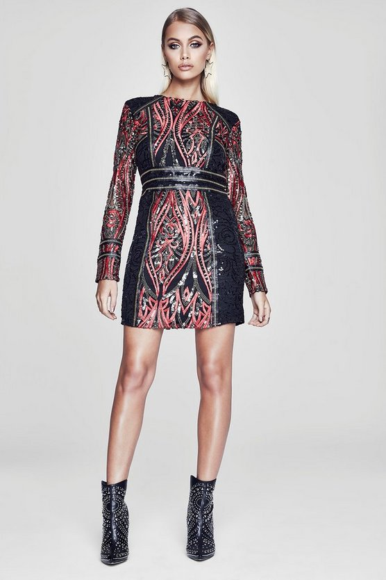 Premium Lottie Long Sleeve Sequin Dress