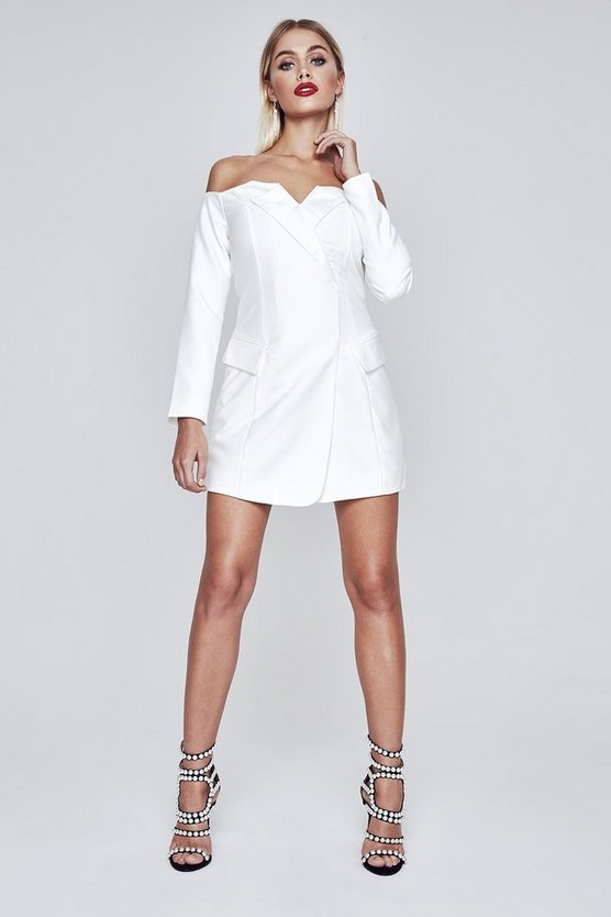 Premium Anisha Off Shoulder Tuxedo Dress