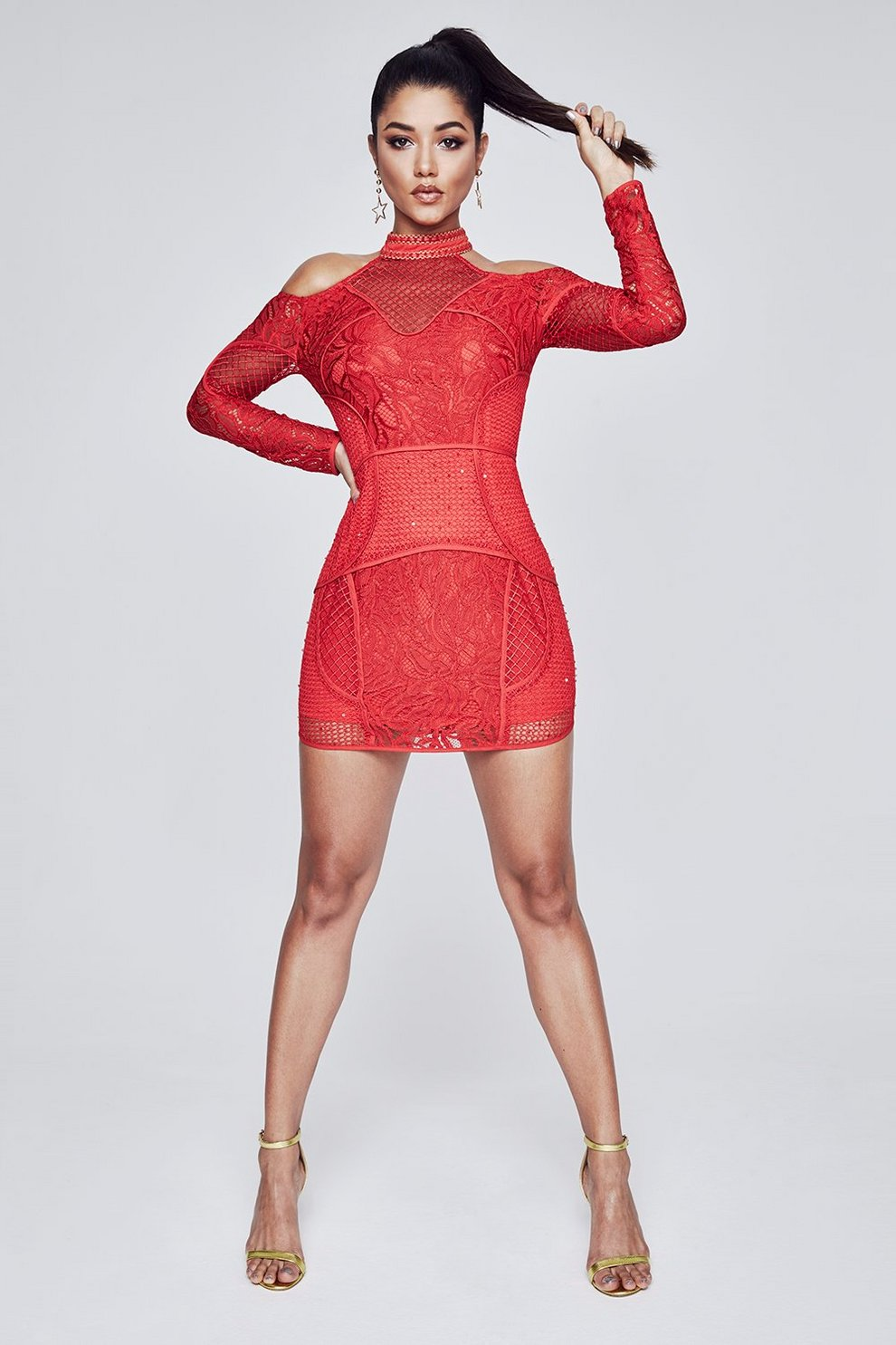 Shopping Online Boohoo Premium Corded Lace Cold Shoulder Dress Outlet Locations Cheap Price Outlet Footlocker Pictures Newest Cheap Price NealpsL0