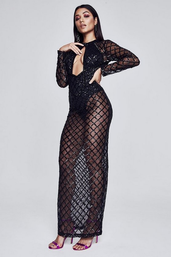 Premium Madisyn Long Sleeve Sequin Maxi Dress