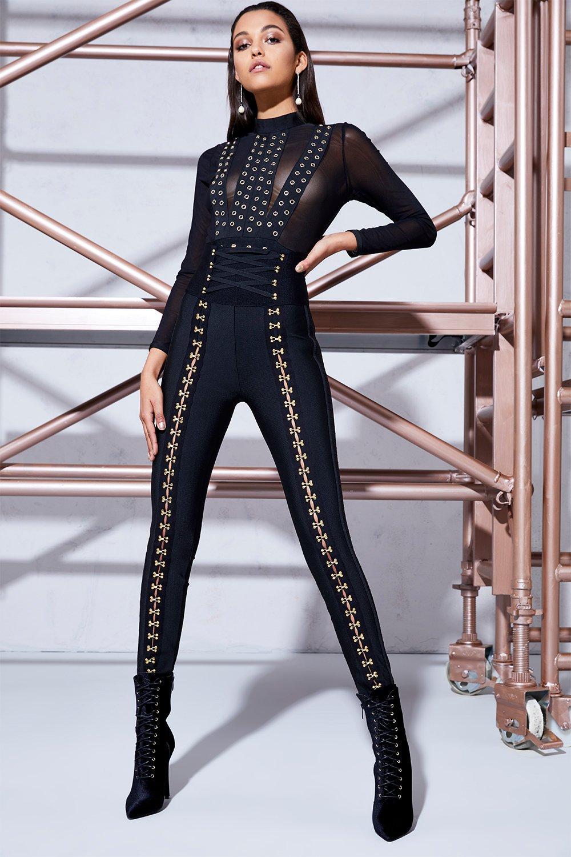 Eliza Corset Waist Skinny Leg Trouser - black