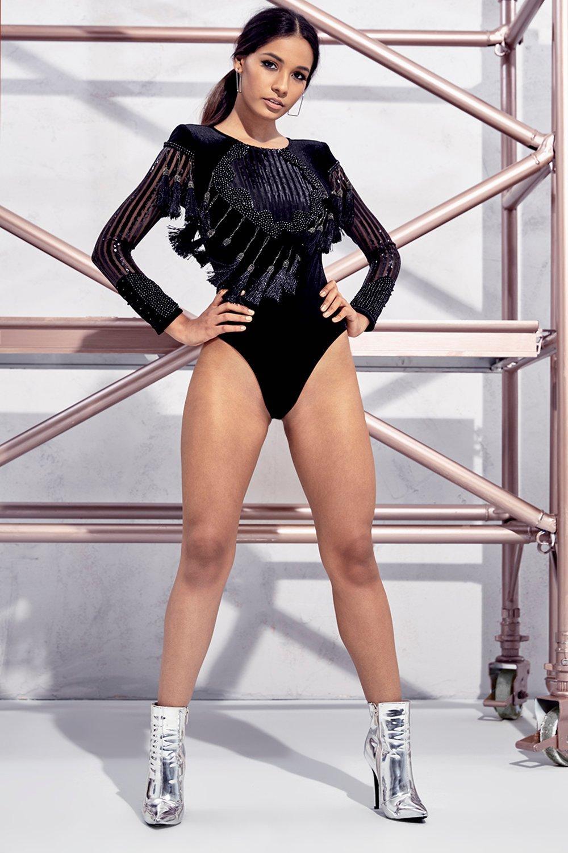 Petite May Tassel Velvet Bodysuit - black