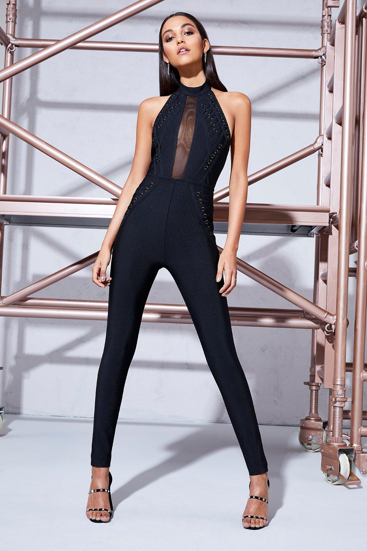 Ava Halter Lace Up Skinny Leg Jumpsuit - black