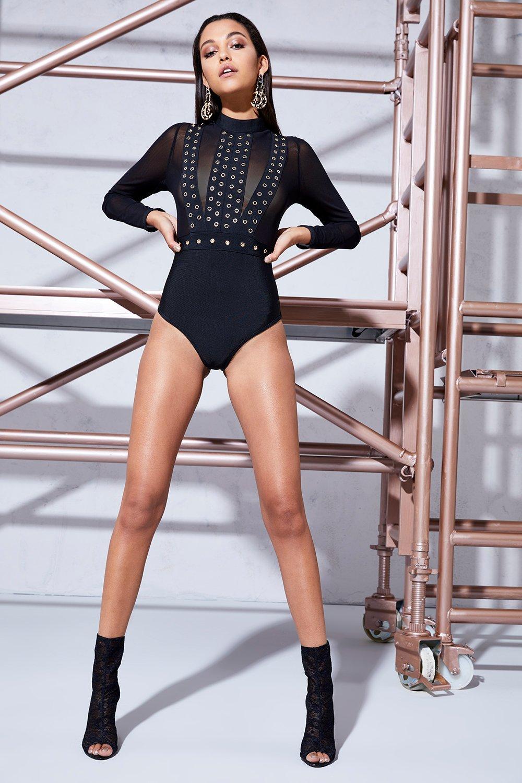 Bella Eyelet High Neck Bodysuit - black