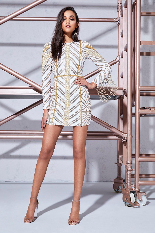 Leah Chevron Sequin & Pearl Long Sleeve Dress - ivory