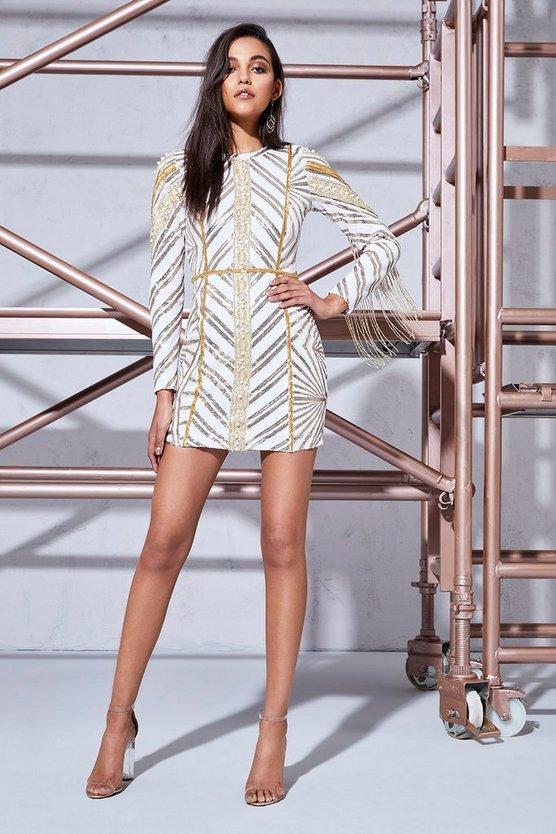 Premium Leah Chevron Sequin & Pearl Long Sleeve Dress