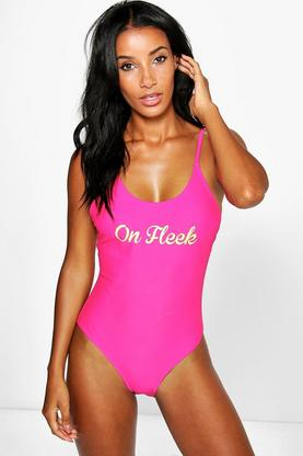 Marbella Fleek Scoop Neck Slogan Swimsuit