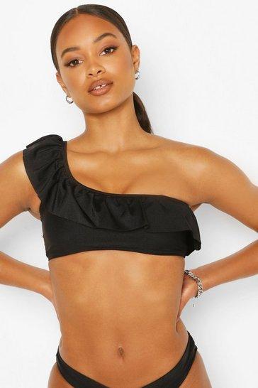 Black One Shoulder Ruffle Shoulder Bikini Top