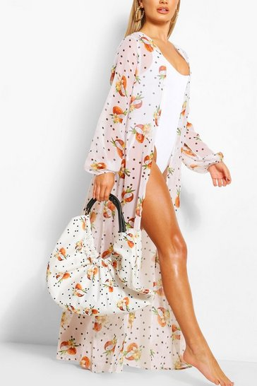 White Coconut & Spot Ruched Large Beach Bag