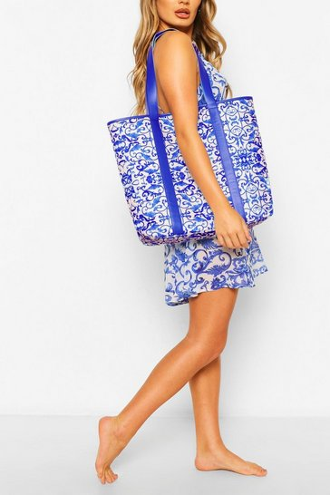Blue Chain Print PU Strap Beach Bag
