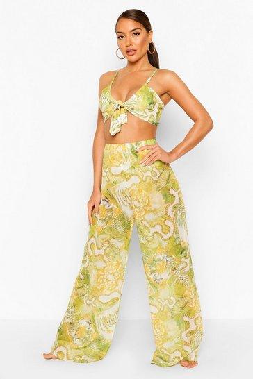 Green Chain Print Beach Trousers