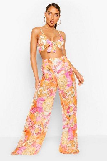Pink Chain Print Beach Trousers