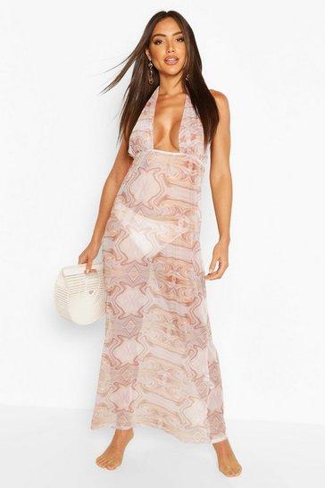Blush Marble Halterneck Maxi Beach Dress