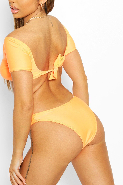 Womens Mix & Match Crop Top Mit Rückenschnürung - Orange - 36, Orange