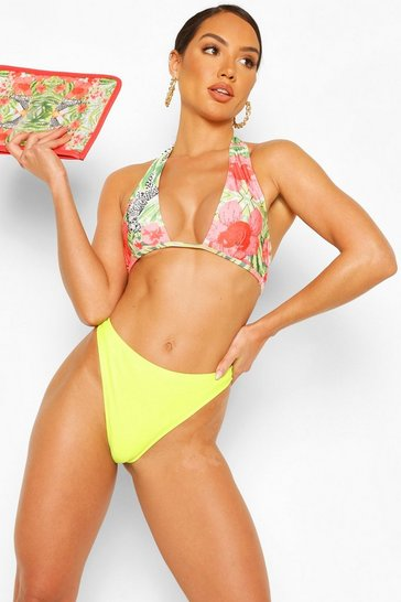 Lime Abstract Animal Triangle High Waist Bikini