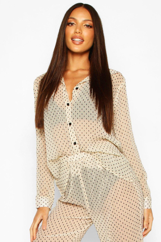 Womens Dobby-Strandhemd - creme - S, Creme - Boohoo.com