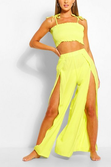 Lime Shirred Split Front Beach Co-ord