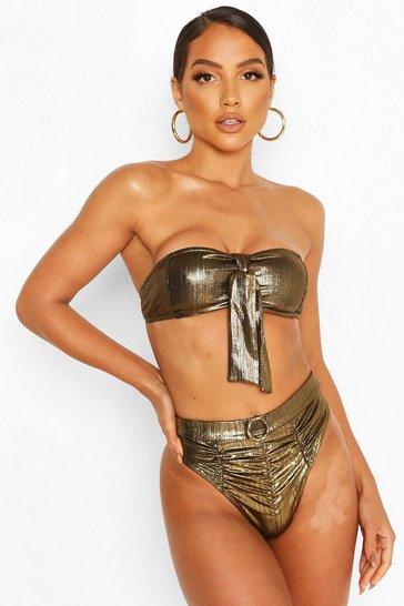 Gold Metallic Bandeau High Waist Bikini