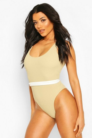 Khaki Crinkle Scoop Swimsuit With Removable Belt