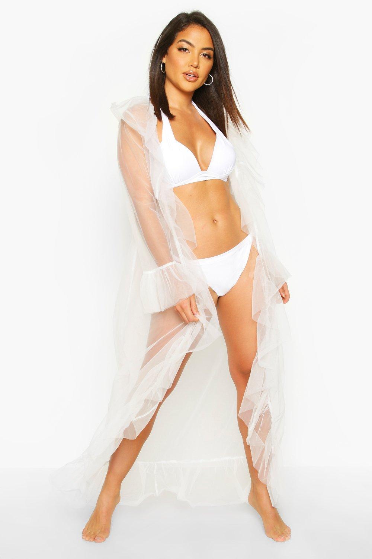 Пляжное кимоно OTT из органзы с оборками фото
