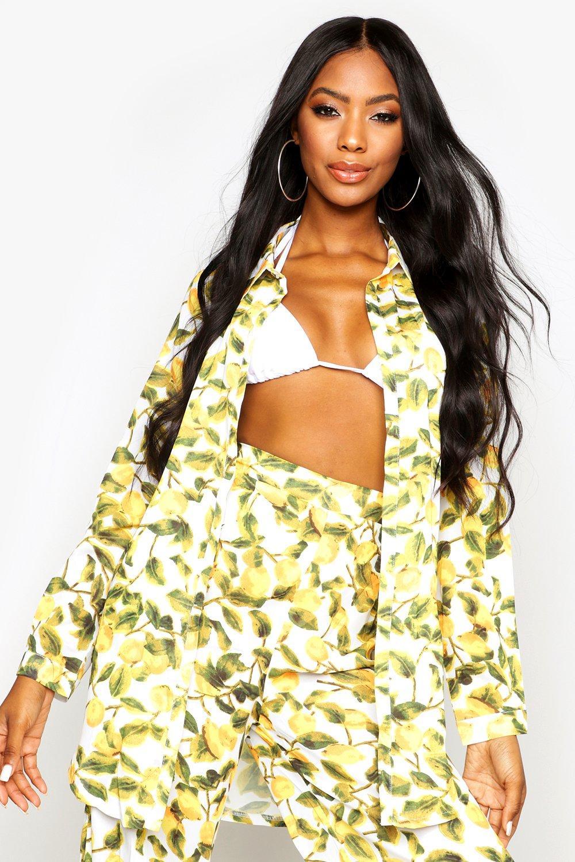 Womens Strandhemd im Zitronen-Print - gelb - 34, Gelb - Boohoo.com