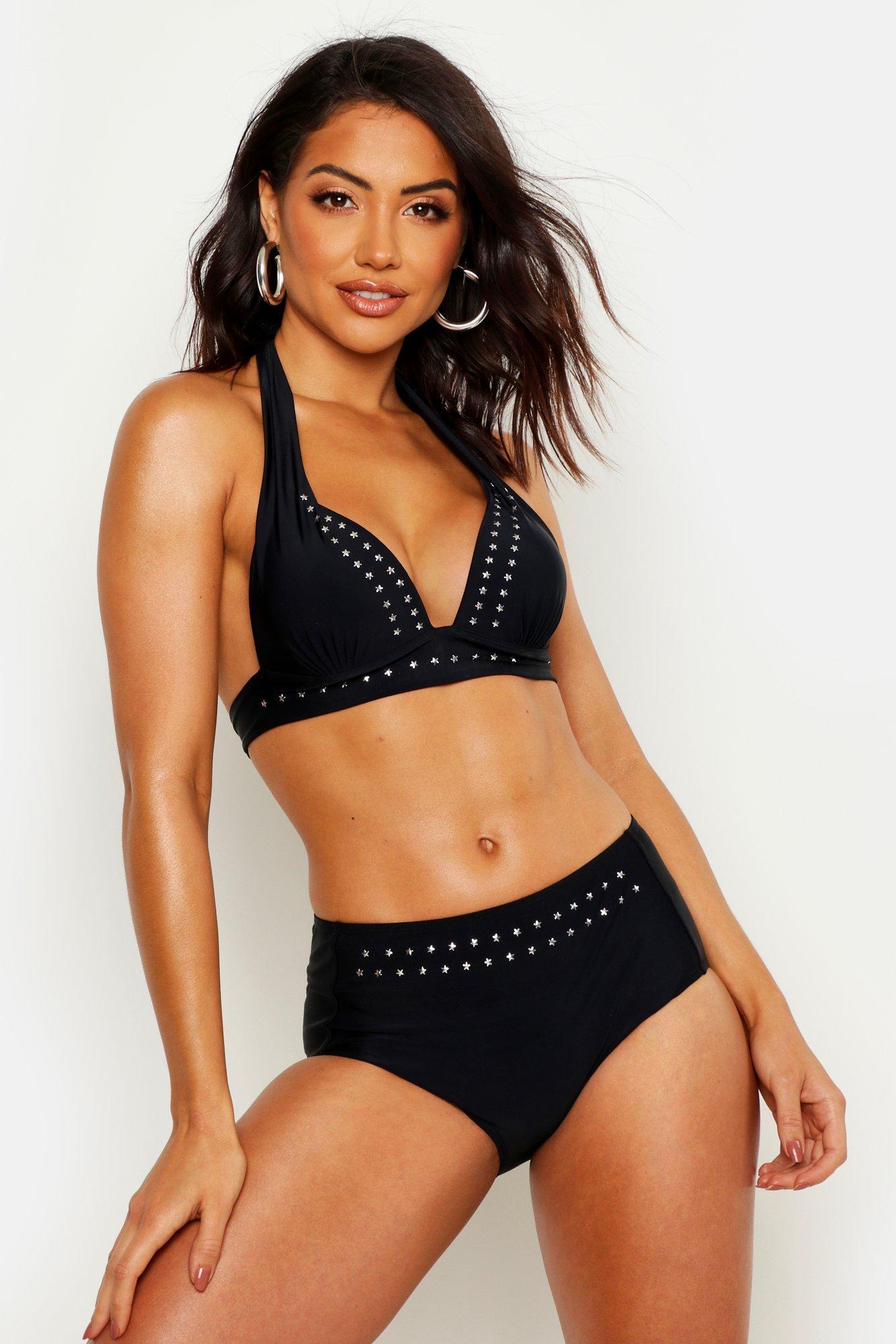 Womens Mix & Match Push-Up Bikini-Oberteil mit Sternnieten und tiefem Ausschnitt - schwarz - 34, Schwarz - Boohoo.com