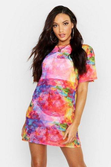 Multi Rainbow Tie Dye Mesh Beach Dress