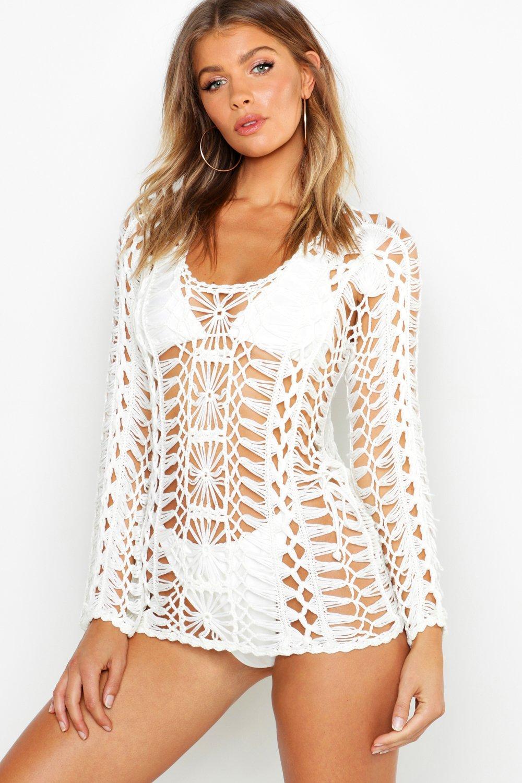 Купить Beachwear, Вязаная пляжная туника с длинными рукавами, boohoo