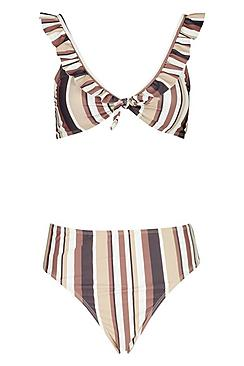 Striped Ruffle Trim Bikini