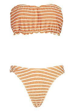 Textured Bandeau High Leg Bikini