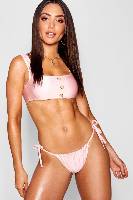 Купить Bikini Bottoms, Трусы бикини со шторкой и завязками по бокам, boohoo