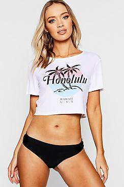 T-shirt mare corta con stampa Honolulu