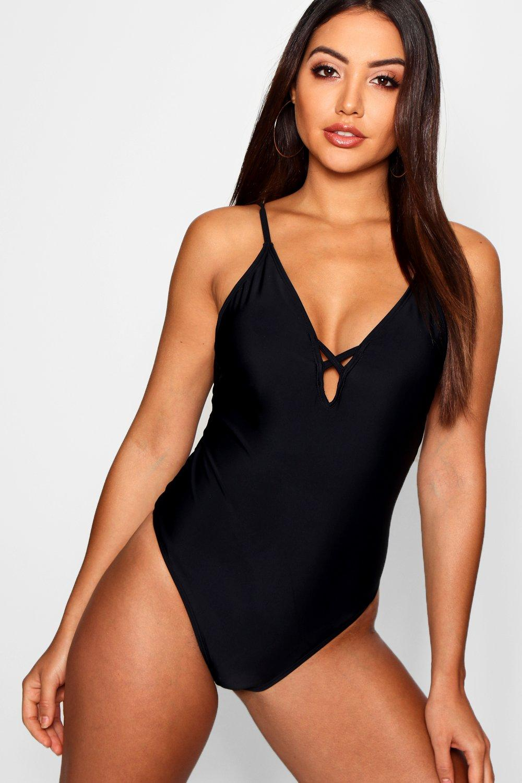 Купить Swimsuits, Слитный купальник с вырезом на спине со шнуровкой, boohoo