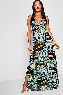 Dark Floral Maxi Beach Dress