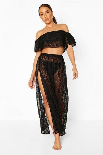 Black Lace Bardot Beach Co-ord