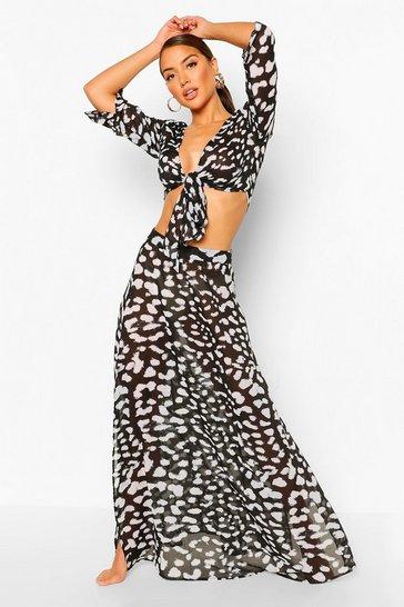 Black Leopard Tie Front Beach Co-ord