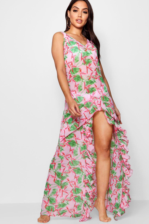 Купить Beachwear, Пляжное платье макси с вырезами с цветочным принтом, boohoo