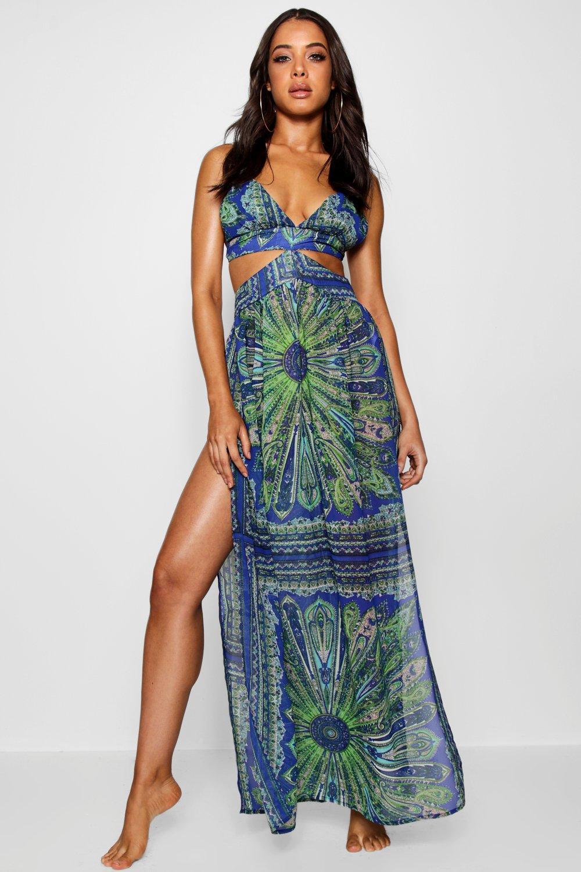 Купить Beachwear, Пляжное платье-макси с вырезами с принтом под платок, boohoo