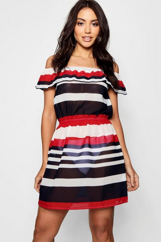 Sailor Stripe Bardot Beach Dress