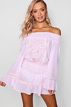 connie bardot top & frill skirt beach co-ord
