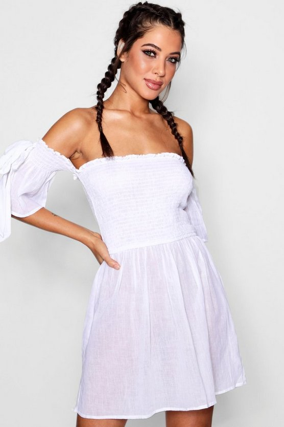 Honey Tie Sleeve Bardot Beach Dress